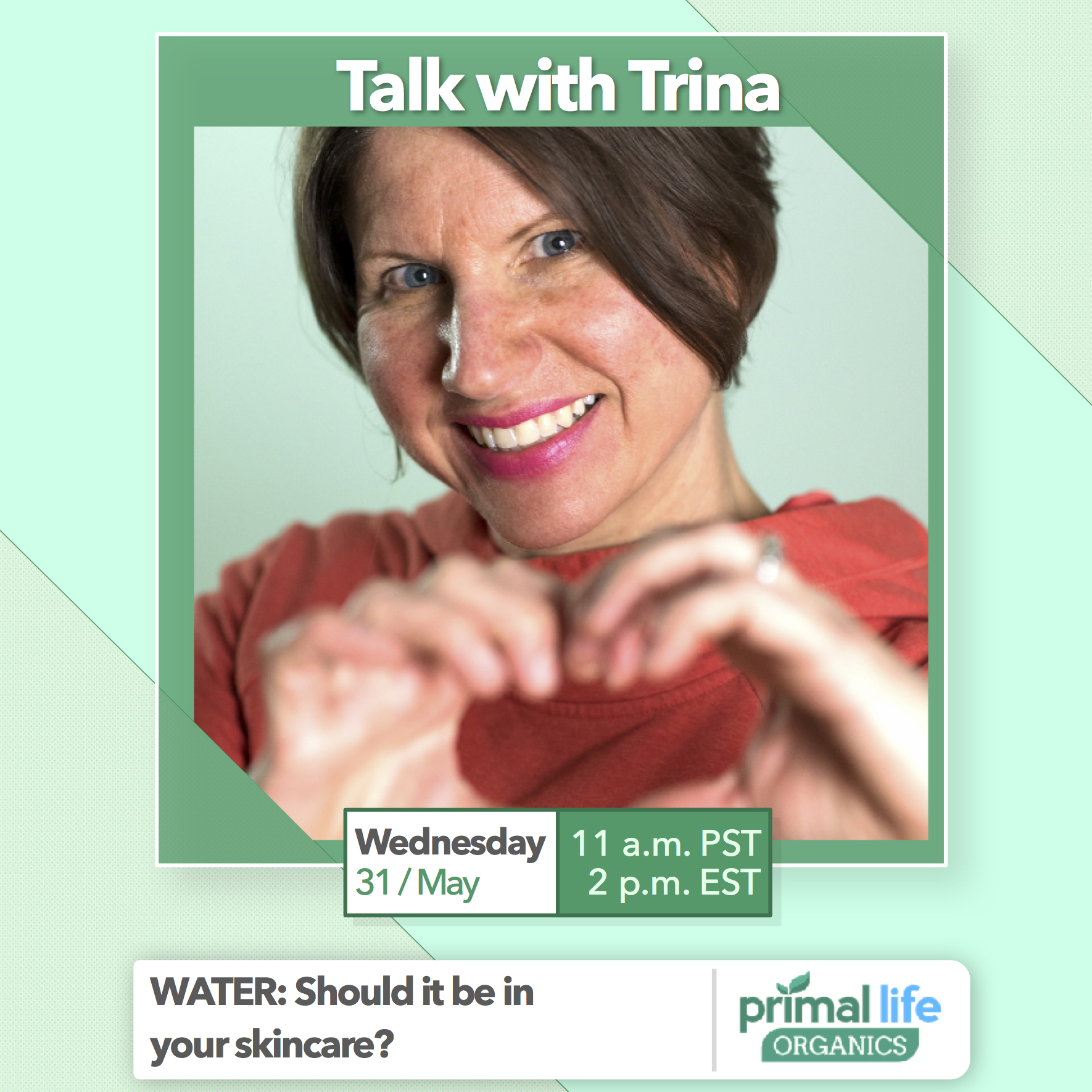 I'm going LIVE on Facebook to talk about water in skincare. Is it good? Bad? Toxic?! Find out on Wednesday, May 31 at 2 p.m. EST. when I go live on Facebook and answer any questions you have.